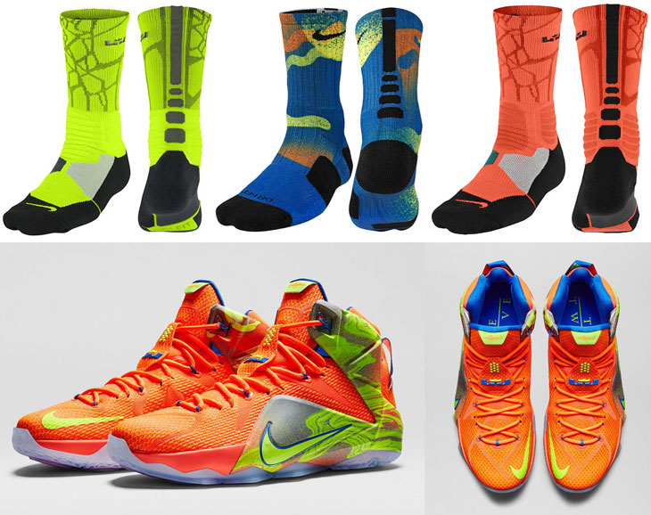 "new product 41549 96725 Nike LeBron Socks to Wear with the Nike LEBRON 12 ""Six Meridians"""
