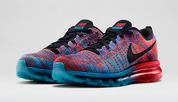 best loved 2e324 19f5b Nike Flyknit Air Max Blue Lagoon Bright Crimson | SportFits.com