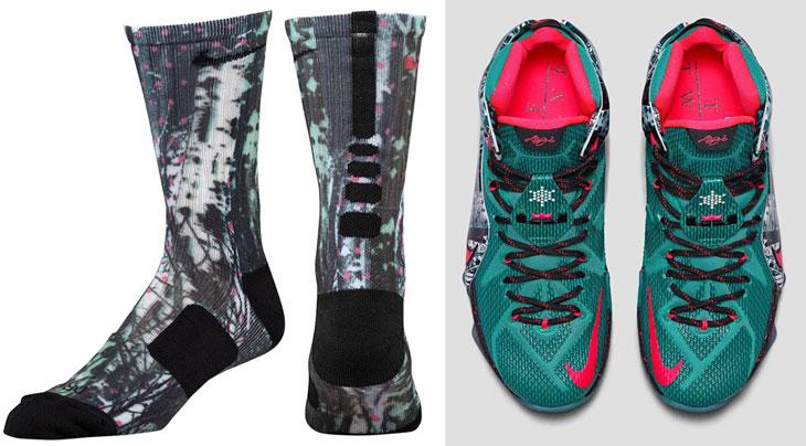 "online store dfa91 ad57c Nike LeBron Christmas ""Akron Birch"" Socks"