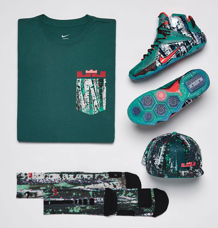 978943046a6 Nike LEBRON 12 Christmas Clothing Shirt Hat and Socks