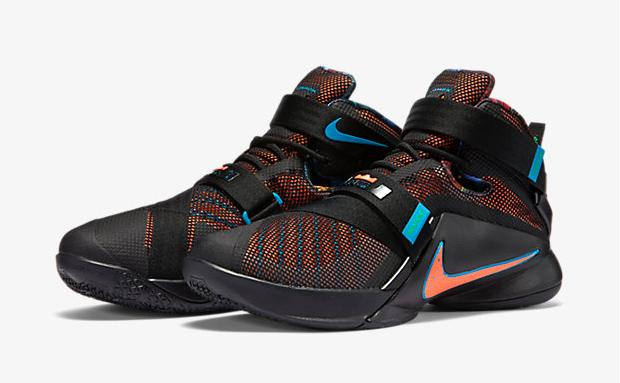 7704cb7be09d Nike LeBron Soldier 9 Black Blue Lagoon Hyper Orange