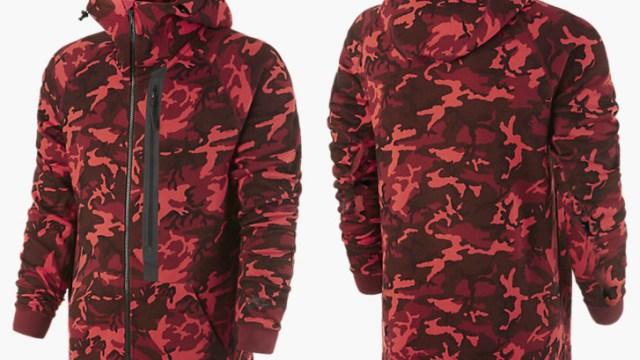 Nike Tech Fleece Camo Hoodie Team Red Sportfits Com