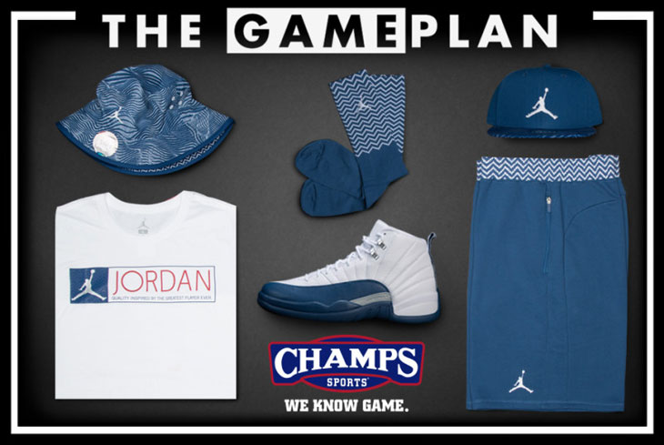 4a3b735d942 Jordan 12 French Blue Clothing and Shoes at Champs