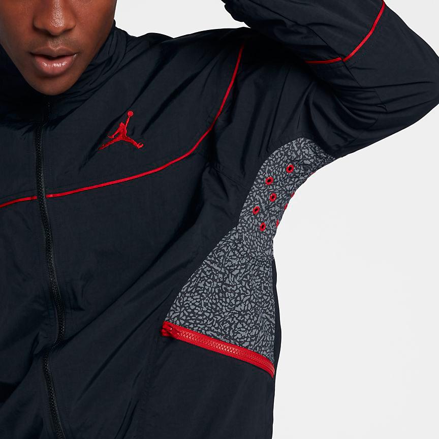 9fd488dbdb9 Jordan Retro 3 Black Cement Warm Up Jacket   SportFits.com