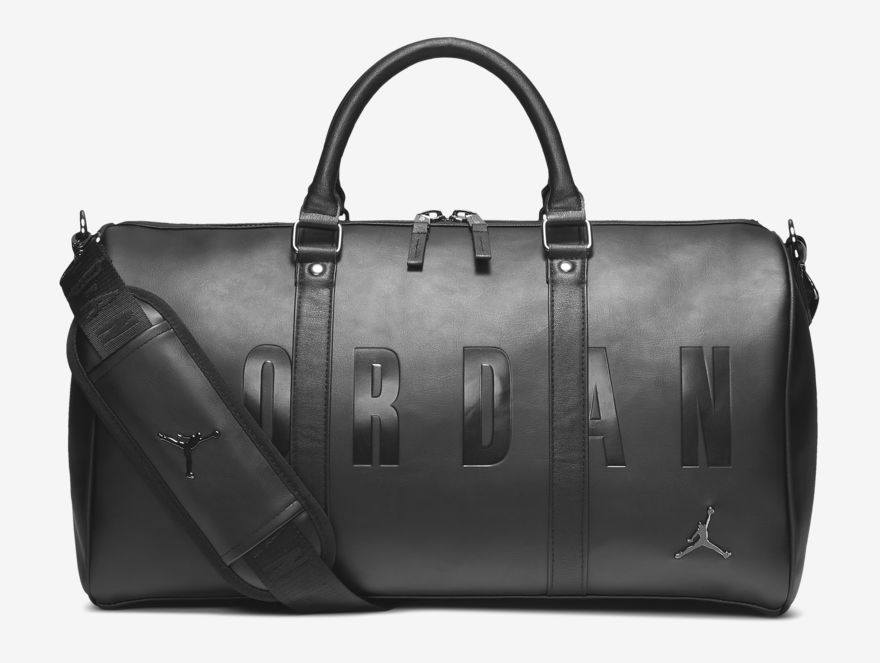 75bf4623361 Jordan Jumpman Black Leather Duffel Bag | SportFits.com