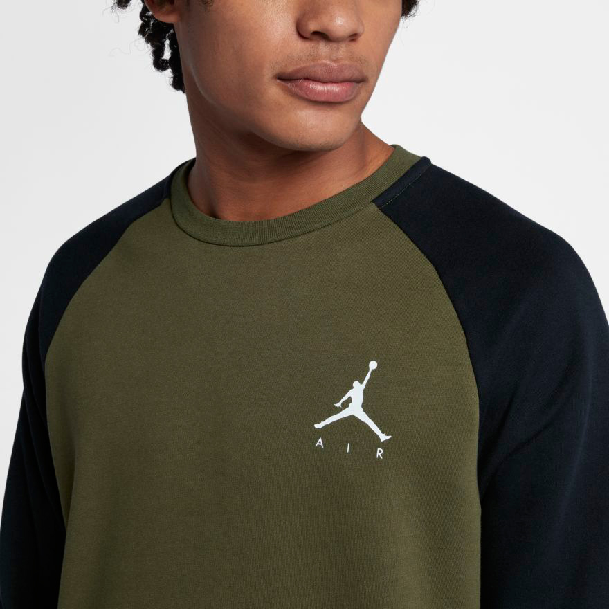 a1770f9f962041 A Few New Jordan Jumpman Air Fleece Crew Sweatshirts Available for Fall.  jordan-crew-sweatshirt-olive-black-1