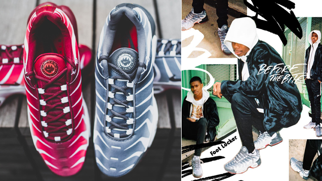 "feef8c9fdd Inspired by great white sharks, and the art of their hustle, Footlocker has  released the Nike Air Max Plus ""Before and After the Bite"" Pack, featuring  two ..."