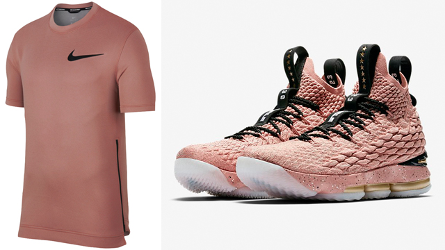 "3707e69458e0 Nike LeBron 15 ""Hollywood"" + ""Rust Pink"" Nike Thermaflex Showtime Dri-FIT  Shirt to Match"