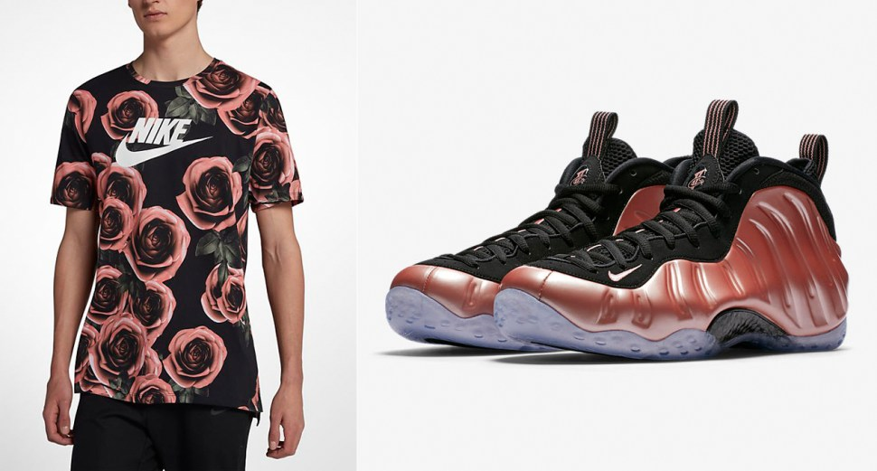 Nike Foamposite Rust Pink Rose Shirt Match  9e334cd47