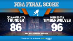 Towns, Rubio guide Timberwolves, 96-86 over Thunder