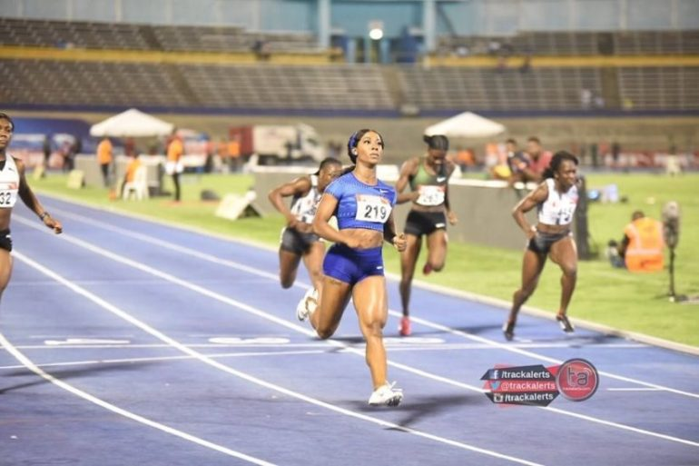 Shelly-Ann Fraser-Pryce in the 100m at the Jamaica Trials