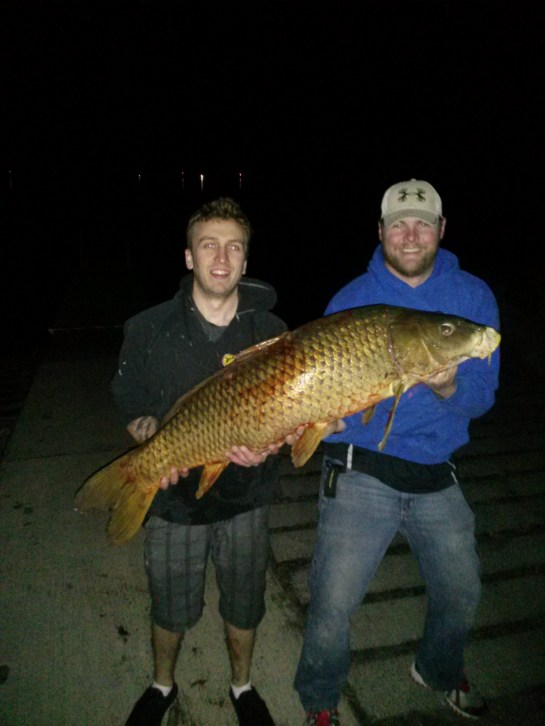 Jeremy Lewerenz and Matt Kargas with giant carp!