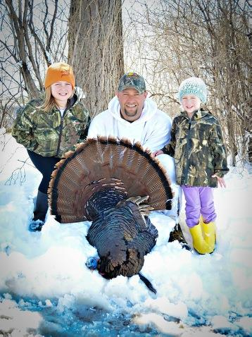 Eran Sandquist with his snowy spring turkey
