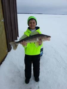 Jakob, ice fishing, walleye