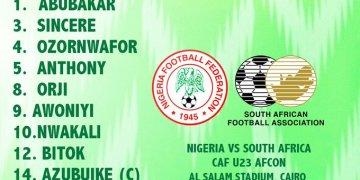 U23 starting XI vs South Africa