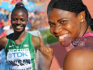 Sprinter Blessing Okagbare-Ighoteguonor (R) and sprint hurdler Tobiloba Amusan (L)