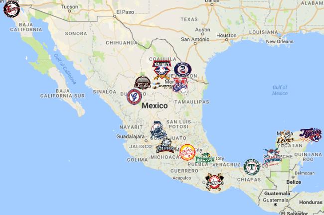 Mexican League Map   Teams   Logos - Sport League Maps