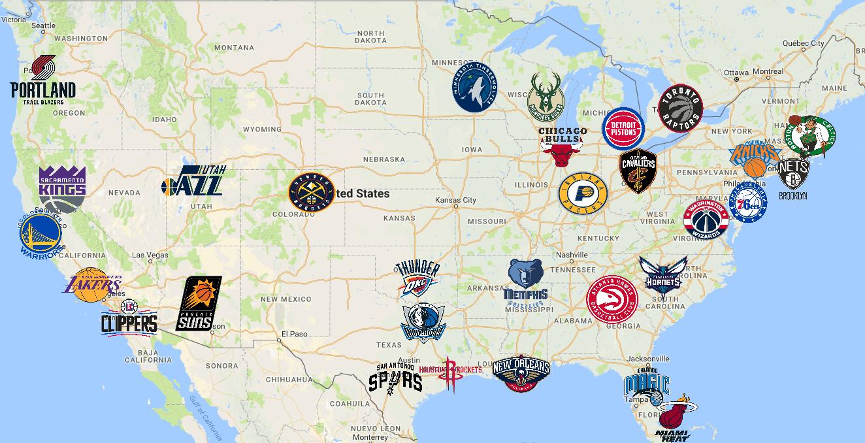 Nba Map Teams Logos Sport League Maps Maps Of Sports