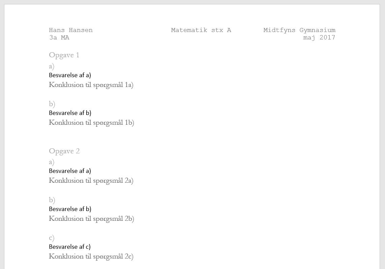 matematik skriftlig eksamen stx