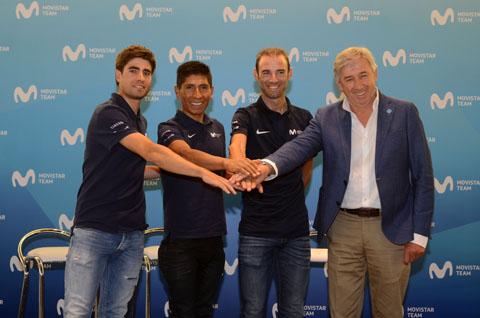 Nairo Quintana, Mikel Landa y Alejandro Valverde visitan Distrito Telefónica