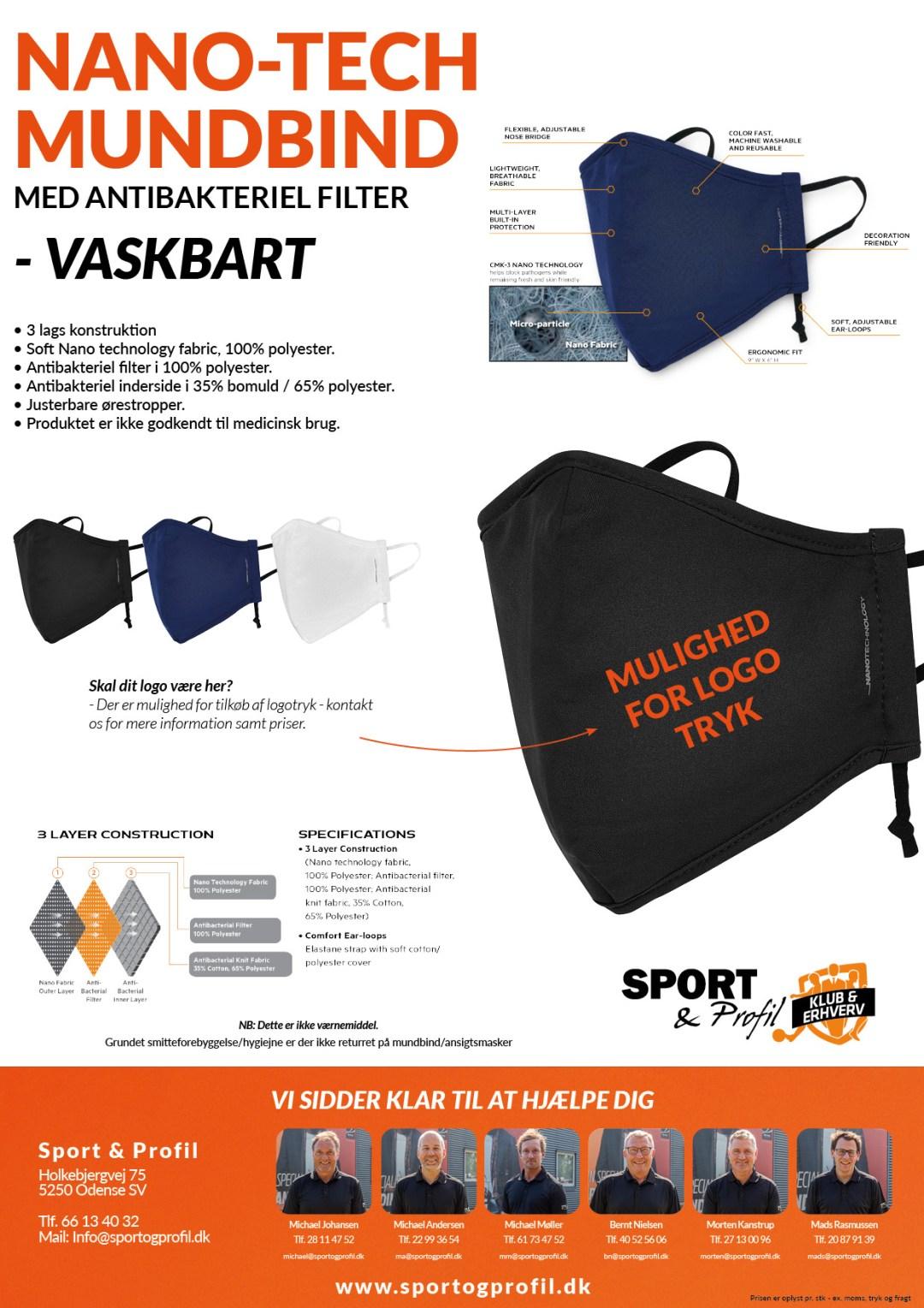 Vaskbart 3-lags mundbind med Nano-Tech polyester fra Sport & Profil