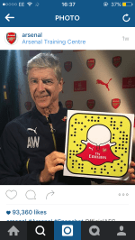 An Instagram post of Arsene Wenger promoting the Arsenal Snapchat account.