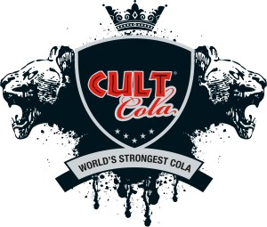 CULT Cola logo 150 mg. energy cola