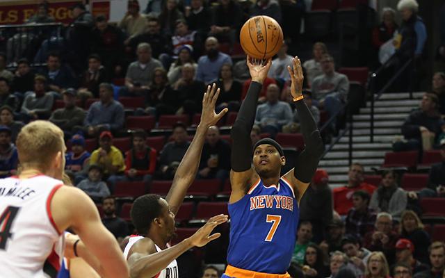 Carmelo Anthony's shots are often contested. (USATSI)
