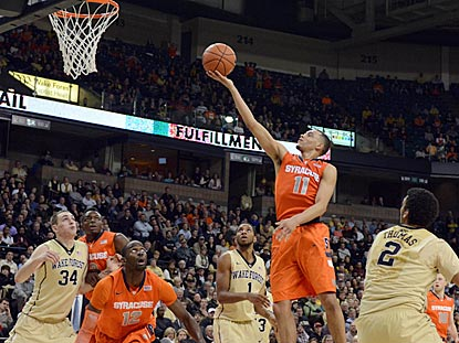 Syracuse point guard Tyler Ennis drives for a layup.