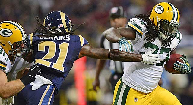 Eddie Lacy did not look out of shape while gaining 40 yards vs. the Rams. (USATSI)