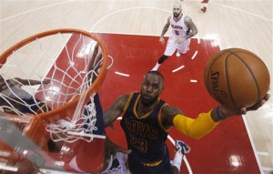 Cleveland Cavaliers forward LeBron James (23) shoots against the Atlanta Hawks during the first half in Game 1 of the Eastern Conference finals of the NBA basketball playoffs, Wednesday, May 20, 2015, in Atlanta. AP FILE PHOTO