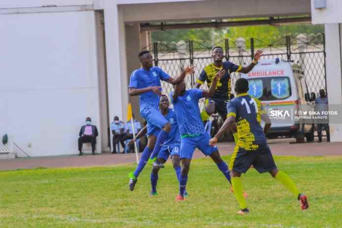 Real Tamale United defender Bawa Samuel (far left) in action