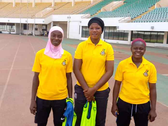 The 3 Female participants in ongoing GFA Coaching Course in Tamale