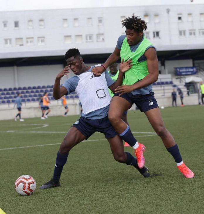 Mahey (left) showing the knack for hustling for the ball