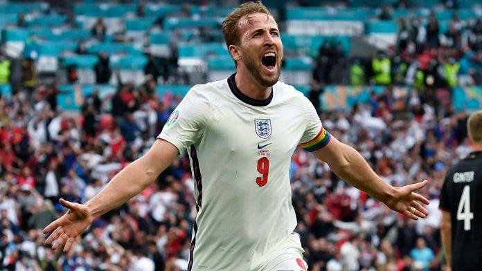 Harry Kane celebrates after scoring England's second goal