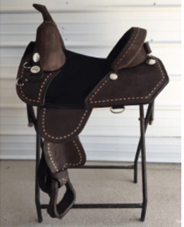 CHOCOLATE ROUGH OUT Angle Cut Barrel Racer