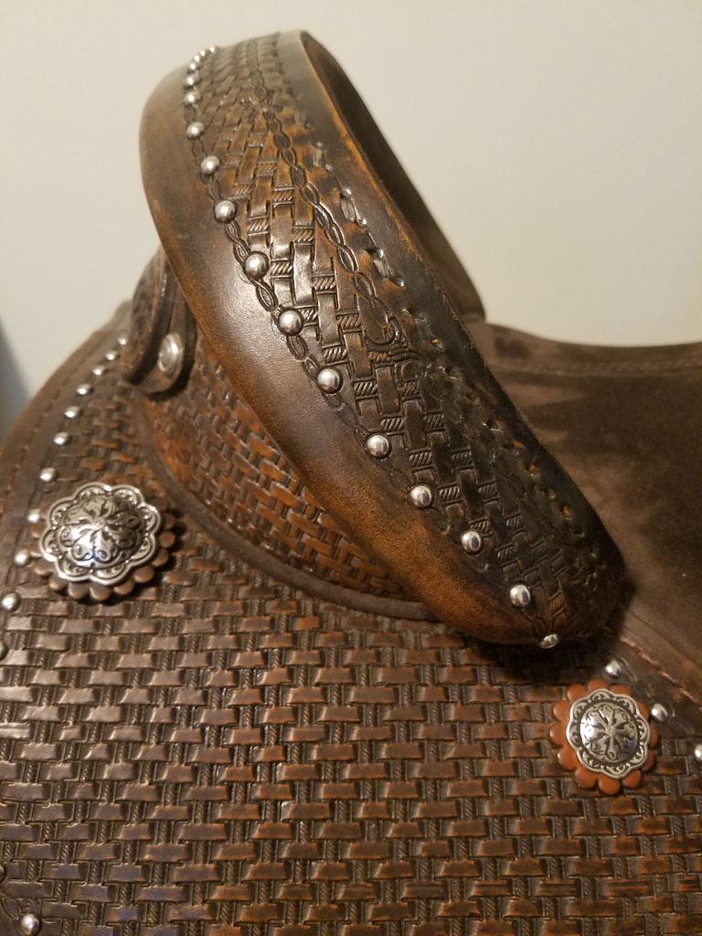 equestrian horse saddle custom silver studs