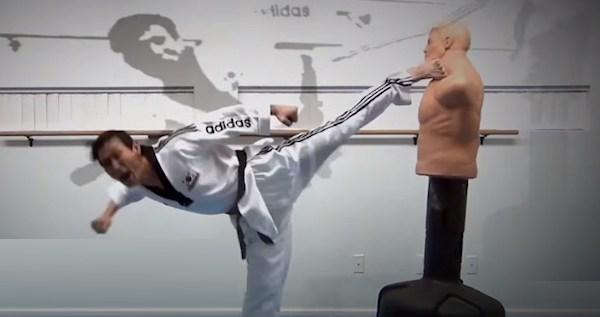 Skipping Side Kick in Taekwondo