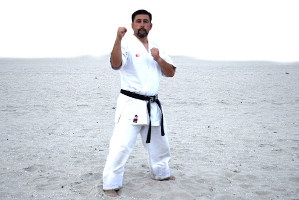 Fighting Stance for a Karate Front Kick