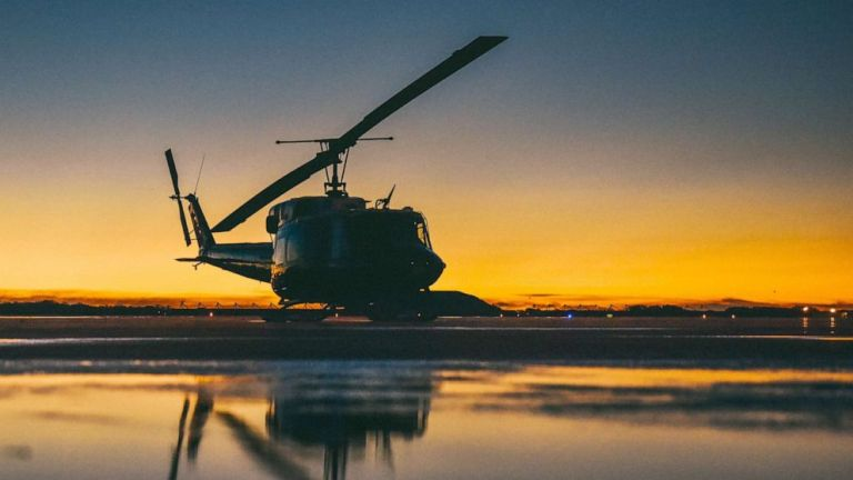 An Air Force helicopter was fired upon from the ground while flying over Virginia USA