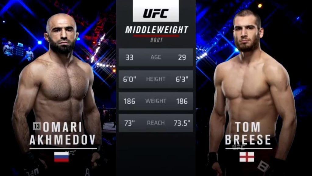 Omari Akhmedov vs. Tom Breese. UFC on ESPN 20. Full fight