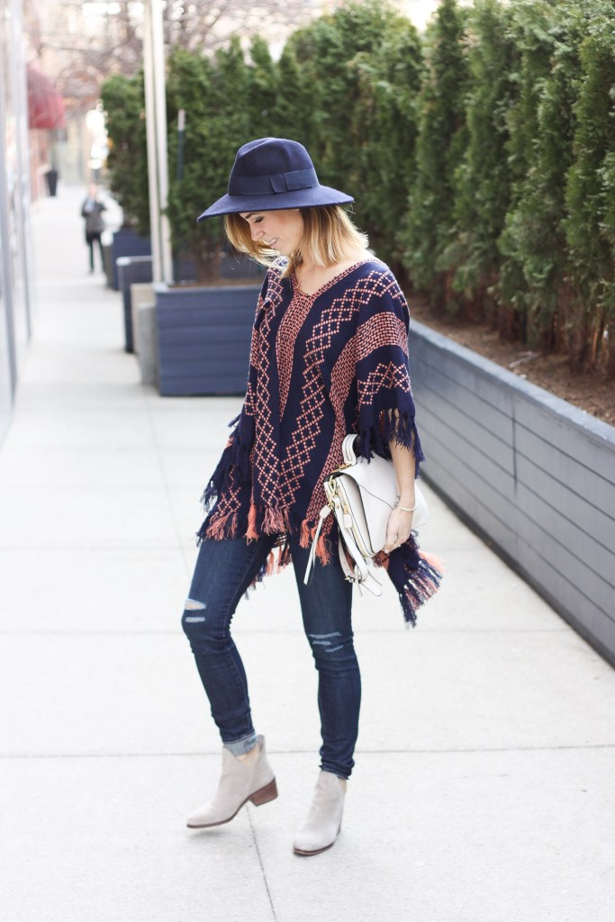 Free People Pattern Weave Poncho, Spring Fashion, NFL Draft, NFL, NHL Playoffs, Festival Wear, Zara booties, DSTLD Denim, Distressed denim, ASOS Wool Hat, Floppy Hat