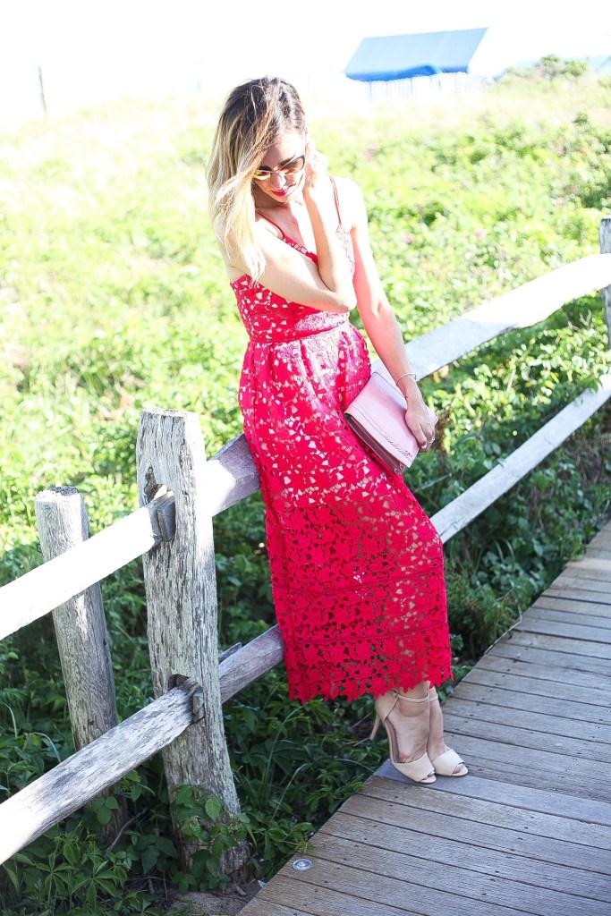 Cape Cod, Poponnesset Inn, Choies.com, Choies Red Crochet Dress, Tom Ford Natasha Cat Eye Sunnies, Nude Sandals, Wedding Season Fashion, Wedding Season, What to wear to a wedding, Wedding Guest fashion