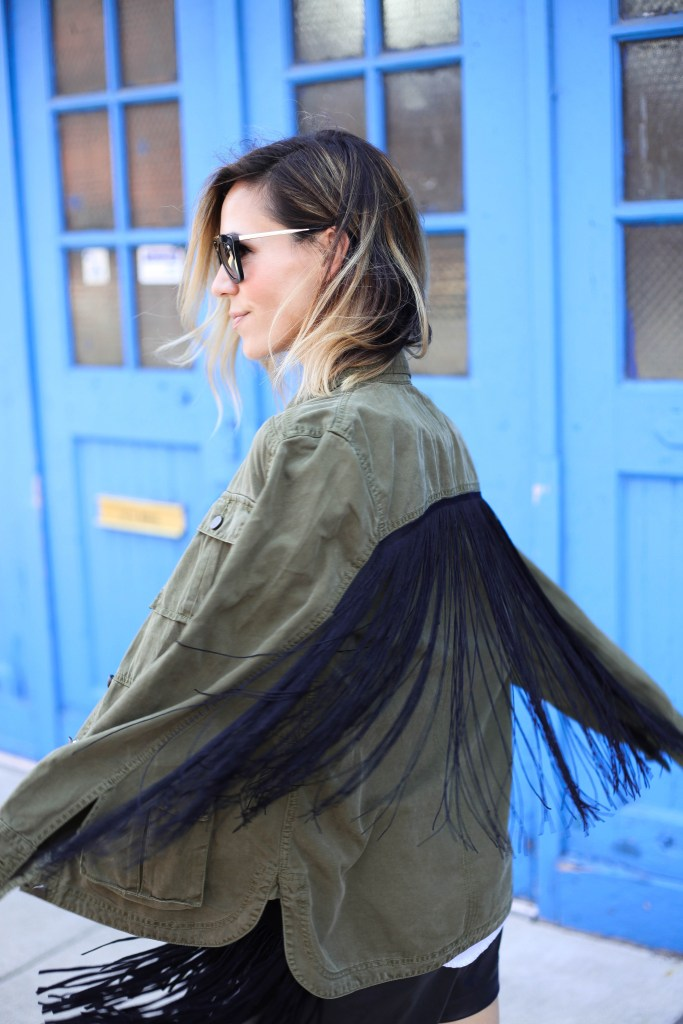 Blank NYC Monet Fringe Jacket, Steve Madden President Sandals, Black Fringe Clutch, Faux Leather Shorts, Stripped collared shirt, Prada Sunglasses