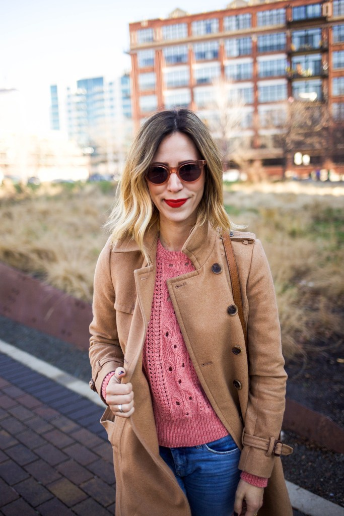 Blank NYC Distressed Skinny Denim, JCREW ICON TRENCH COAT, Pink Knit Sweater, Nike Mid Blazer Snake, Stila Lip Color Beso, RAEN Akin Sunglasses