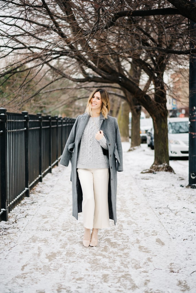 Perspex Heeled Ankle Boots, Topshop Grey Duster Coat, Ann Taylor Drapey Crop Pants, Banana Republic Stitch Crew Pullover, Winter Whites