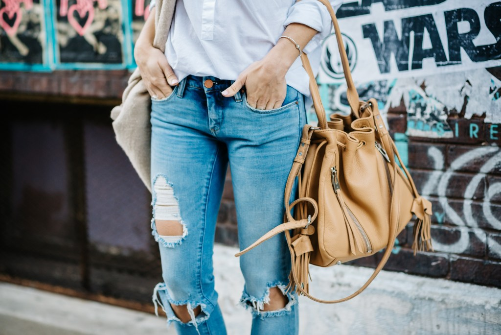 Landa Nellie Blue Suede Hush Puppies, Blank NYC Distressed Denim, J.Crew Shirt Dress, Linea Pelle Bucket Back, Casual Fashion