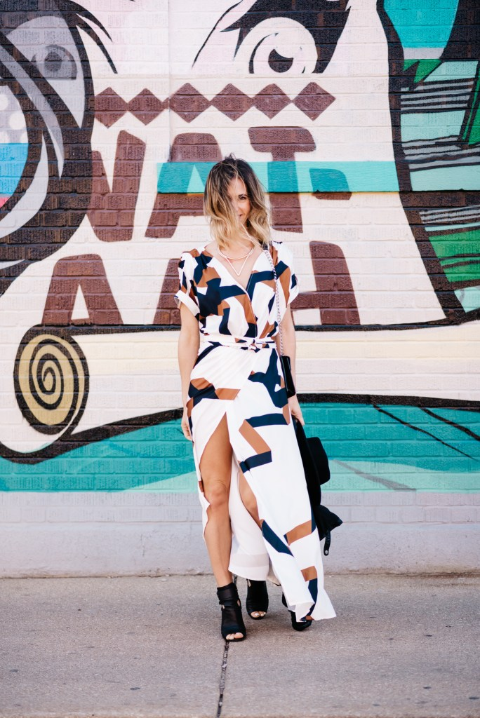 Festival Fashion, Festival Fashion Idea, Geometric Print Dress, Faux Leather Moto Jacket,