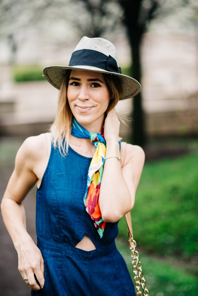 Crop Chambray Jumpsuit, Square Neck Scarf, H&M Panama Hat, J.Crew espadrilles, Chicago Fashion Blogger