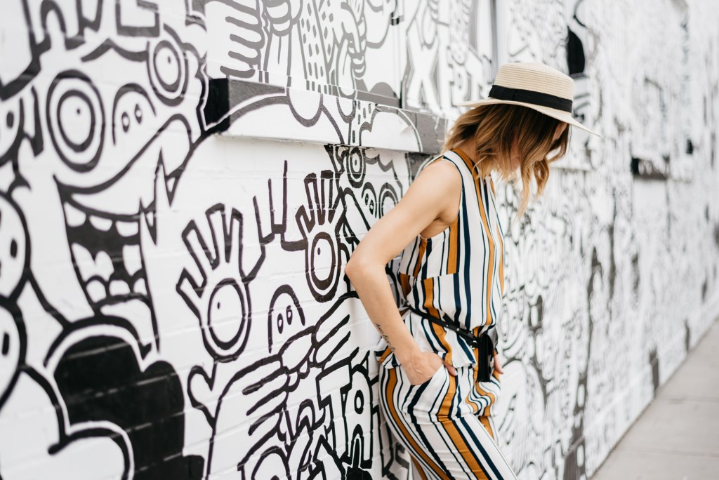 Straw boater hat, Kavilla Ghillie sandal, Chicago Fashion Blogger, SheIn Striped twinset,